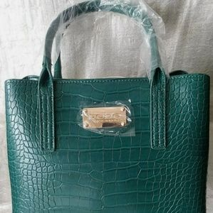 Bebe Aubrey Mini Croco Satchel Emerald Handbag